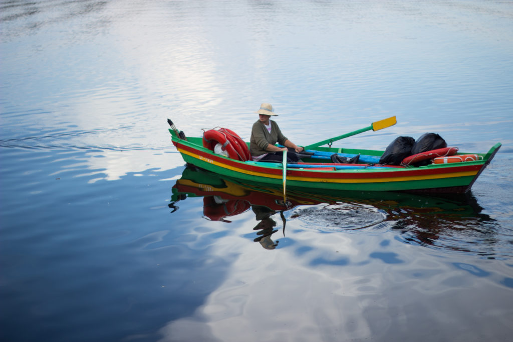 boat on a lake in lithuania