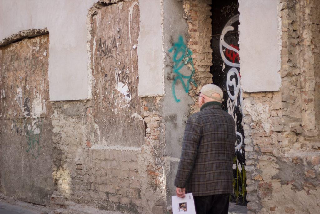 man walking in vilnius
